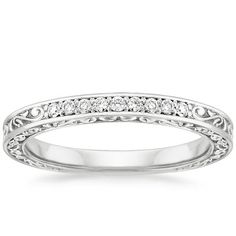18K White Gold Delicate Antique Scroll Ring from Brilliant Earth