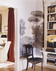 Wallpaper works nicely in the corner with the chair.