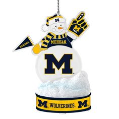 Michigan Wolverines Ornament - LED Snowman