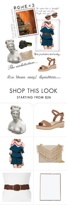 """""""When in Rome"""" by marilyn-montoto ❤ liked on Polyvore featuring Romanelli, Nikon, Nine West, Cynthia Rowley, SONOMA Goods for Life, NKUKU, Fountain, Witchery and espadrilles"""