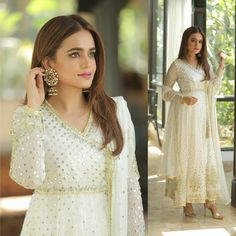 looking stunning in white outfit by 💕 Pakistani Couture, Pakistani Dress Design, Pakistani Bridal, Eid Outfits, Dress Outfits, Fashion Outfits, Indian Fashion Dresses, Asian Fashion, Pakistani Wedding Outfits