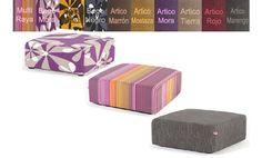 Puff cubo 84cm X 84cm tapizado en varios tonos