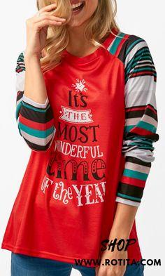 d11dda40c20ff Long Sleeve Letter Print Red T Shirt A really casual shirt