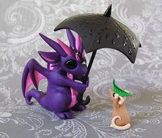 Dragon and Mouse in the Rain by DragonsAndBeasties on Etsy