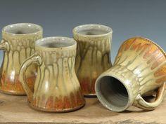 Set of Four Coffee Mugs Stoneware Pottery Cups Orange Yellow (YCP429)