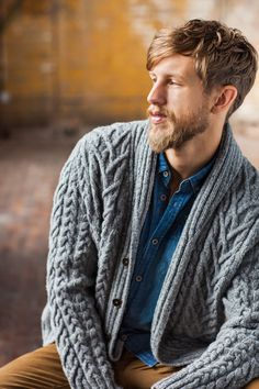 Timberline sweater pattern by Jared Flood (knitting, cardigan, bottom-up, cables, shawl collar, set-in sleeves, brooklyn tweed) — featured in New Favorites: from Brooklyn Tweed Men —> http://fringeassociation.com/2013/07/10/new-favorites-from-brooklyn-tweed-men/