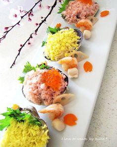 みんなのレシピ:白だしデンブdeハマグリ雛寿司