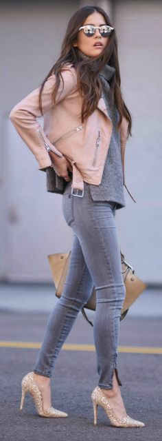 Leather jackets + classic black + blush pink jacket + Paola Alberdi + treat paired + skinny jeans + simple grey knit sweater + ultimate spring style Jacket: All Saints, Sweater: Barney's New York, Jeans: Shoptiques.