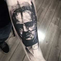 Don Corleone tattoo by Fredao Oliveira blackwork blckwrk linework shading abstract sketchstyle DonCorleone Godfather FredaoOliveira