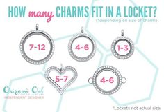 How many charms fit into each Origami Owl locket? https://www.facebook.com/OrigamiOwlMeridithRosemannIndependentDesigner