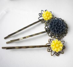 Filigree Flower Hair Bobby Pins in Navy Blue and Yellow