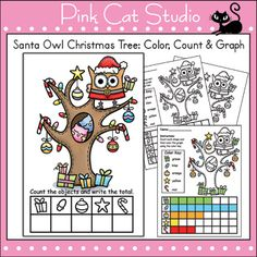 FREE - Santa Owl Christmas Tree - Color, Count & Graph Activity by Pink Cat Studio