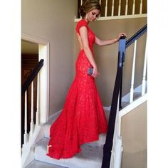Backless Mermaid Red Long Prom Dress,Long Prom Dresses,Cheap Prom…