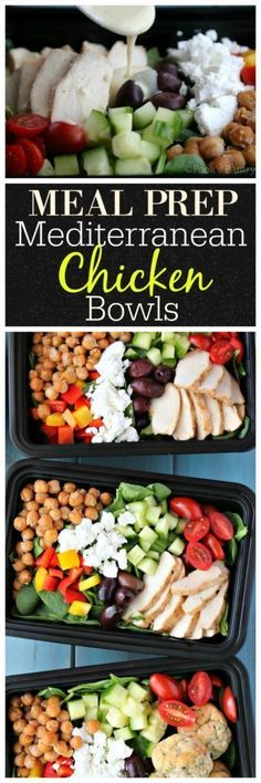 Meal prep is essential to staying on track with a healthy eating plan. Dedicating a few extra minutes on weekends is time well spent! Weekday meals are a snap with Mediterranean chicken meal prep bowls Lunch Meal Prep, Meal Prep Bowls, Healthy Meal Prep, Healthy Recipes, Lunch Meals, Healthy Lunches, Healthy Eating Plans, Healthy Food, Detox Recipes