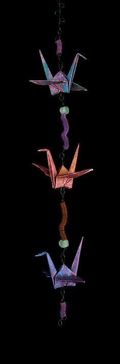 Tricolor Crane Chain Indoor / Outdoor Origami by LittleBirdDePapel, $100.00