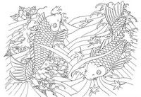 Adult coloring page Japan: huge Fishes