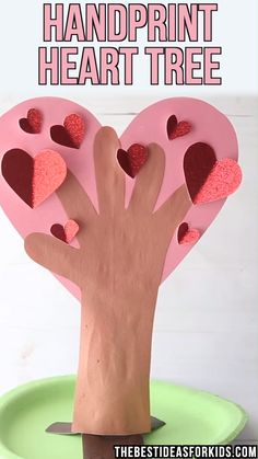 This handprint heart tree is the perfect Valentine's day or Mother's Day craft! Turn a handprint into a beautiful heart tree. HANDPRINT HEART TREE ❤️ - such a cute craft for kids for Valentine's Day! Valentine's Day Crafts For Kids, Valentine Crafts For Kids, Valentines Day Activities, Mothers Day Crafts, Valentines Crafts For Kindergarten, Holiday Crafts, Valentines Bricolage, Kinder Valentines, Valentines Diy