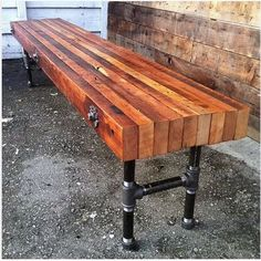 This Industrial Pipe Legs Wood Bench SOLID Urban Loft Reclaimed is just one of the custom, handmade pieces you'll find in our entryway furniture shops. Pallet Furniture, Furniture Projects, Furniture Decor, Furniture Design, Entryway Furniture, Furniture Stores, Furniture Vintage, Cheap Furniture, Furniture Removal