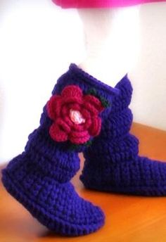 [Hazel just got some boots, and Frances keeps takin' 'em!  These would be perfect...]  Toddler Cozy Crochet Boots