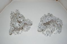 Vintage Lrg Beaded Flowers Shades of Pin White Opaque French