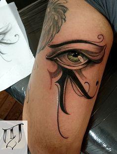 Rä by Tricky Niko (Paris-fr) #blackngrey #tattoo #paris #trickyniko #rä #eye…