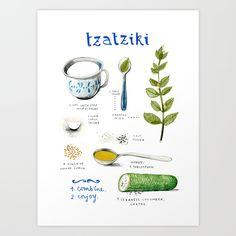illustrated recipes: tzatziki Art Print by Felicita Sala