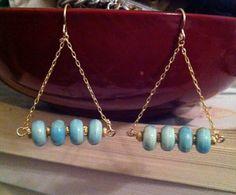 blue & gold dangle earrings