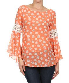 Look what I found on #zulily! Coral Daisy Flare-Sleeve Top by J-Mode USA Los Angeles #zulilyfinds