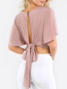 Online shopping for Flowy Crop Wrap Top MAUVE from a great selection of women's fashion clothing & more at MakeMeChic.Shop Tops in many colors and styles and check out our daily updated new arrival women's Tops & more at MakeMeChic. Cropped Tops, Blouse Patterns, Blouse Designs, Dress Outfits, Fashion Dresses, Vetement Fashion, Wrap Shirt, Blouse Online, V Neck Tops