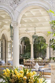 Palladian doors in the Trellis Room of one of Palm Beach's most incredible private homes, via @sarahsarna.