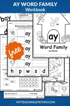 Our AY Word Family Workbook includes a variety of printable worksheets to help your child boost their reading and writing skills. The workbook includes printable worksheets and flashcards of common words ending with AY. Word Family Activities, Cvc Word Families, Phonics Activities, Kindergarten Activities, Kindergarten Age, English Worksheets For Kindergarten, School Worksheets, School Resources, Word Family List