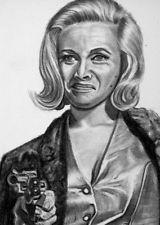 ORIGINAL ACEO sketch card BOND GIRL Honor Blackman PUSSY GALORE 007