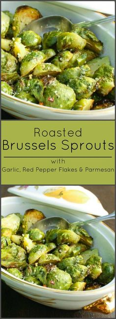 Brussels Sprouts with Roasted Red Pepper Flakes, Garlic and Parmesan Cheese. Low Carb Side Dishes, Healthy Side Dishes, Vegetable Side Dishes, Side Dish Recipes, Vegetable Recipes, Clean Eating, Healthy Eating, Healthy Food, Cooking Recipes