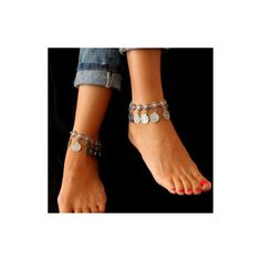 Coin Pendant Decorated Silver Metal Anklet ($6.59) ❤ liked on Polyvore featuring jewelry, silver, anklet jewelry, pendant jewelry, coin pendant, coin jewellery and coin jewelry