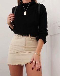 Schwarzer Pullover und Rock Outfit - Frauen Sommer Mode - Best Of Women Outfits Denim Skirt Outfits, Rock Outfits, Cute Casual Outfits, Spring Outfits, Denim Skirts, Outfit With Skirt, Black Skirts, Basic Outfits, Black Denim Skirt Outfit Summer