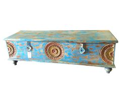Clothing Storag Reclaimed blue Trunk Coffee Table by MOGULGALLERY