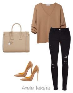 """""""Untitled #63"""" by axelleteixeira ❤ liked on Polyvore featuring J.W. Anderson, Yves Saint Laurent, Frame Denim and Christian Louboutin #CasualChicFashion"""