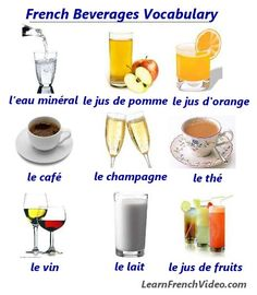 Learn a list of vocabulary words for how to say different kinds of drinks in French. French Teacher, Teaching French, How To Speak French, Learn French, French Language Learning, Foreign Language, Sign Language, French For Beginners, Core French