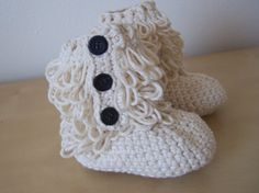 baby girl crochet ugg inspired furry booties by stitchesbystephann