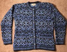 Intiwara Handmade 100% ALPACA Wool Cardigan Sweater Womens Medium Blue Black #Intiwara #Cardigan #Versatile