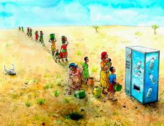10 Cartoons for World Water Day Save Mother Earth, Water Issues, Water Scarcity, World Water Day, African Children, Art Academy, Environmental Issues, Water Supply, Change The World