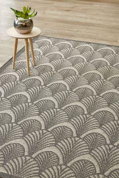 Grey Art Deco (2.4 X 3.4 m): Water-resistant, durable poly-propylene woven flatweave (2.4 X 3.4 m). Get nosta...