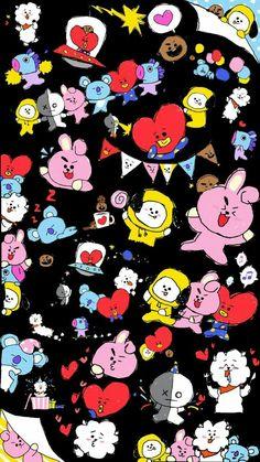 Pop&Joy: The best Wallpapers and Screensavers of BTS K Wallpaper, Galaxy Wallpaper, Cartoon Wallpaper, Bts Chibi, Bts Taehyung, Bts Bangtan Boy, Bts Backgrounds, Bts Drawings, Album Bts