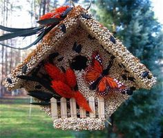 All Seasons Wren Casita Edible Birdhouse entices songbirds as a fun feeder. Features a real wooden birdhouse for nesting and roosting once birdseed is consumed Screech Owl, Decorative Bird Houses, Little Critter, Nesting Boxes, All Birds, Backyard Birds, Yard Art, Bird Feeders, Art For Sale