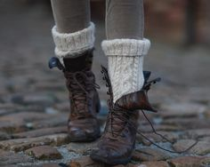 Leather boots and wool socks with stockings