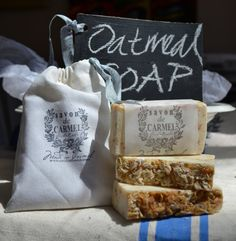 OATMEAL SOAP with French style cotton bag by CECILIAROSSLEE, $5.50