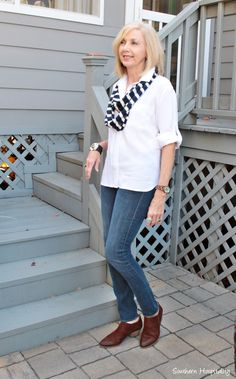 256b40ecdc3b Fashion over 50  Classic White top and jeans. Fashion Over 50
