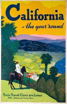 California The Year Round Original Travel Poster Vintage California, California Travel, California California, Vintage Advertisements, Vintage Ads, Vintage Graphic, Wyoming, Tourism Poster, Original Travel