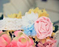 Flower Girl Headband, Pink Blue Headband, Pink White Blue Headband, Pastel Headband, Wedding Headband, Spring Wedding, Newborn Headband