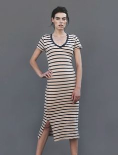 Karla Dress,  This 100% chic and easy-to-wear, v-neck stripe dress perfect for a relaxed Sunday  http://skinworldwideshop.com/collections/clothing/products/karla-dress